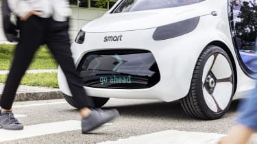 That large black front end can display messages to pedestrians and other road users