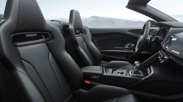 The interior has Nappa leather seats with optional green stitching