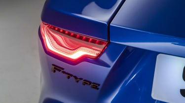 2020 Jaguar F-Type tail-light and F-Type badge