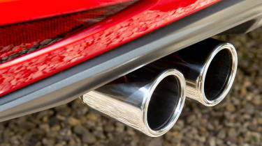 Twin, chromed exhaust exits distinguish the GTD from other diesel Golf models