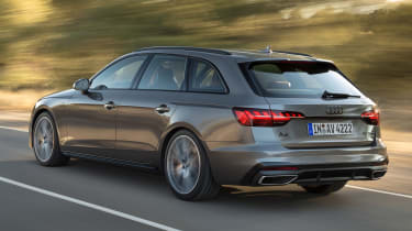 Facelifted Audi A4 Avant estate - driving rear