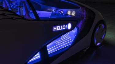 The Toyota Concept-i can display greeting messages on its doors when occupants approach