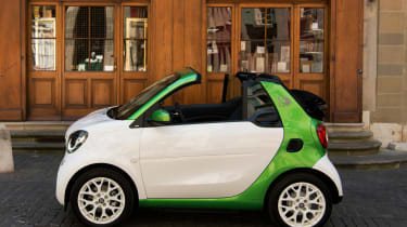 The Electric Drive Design Package adds contrasting green and black/white paintwork with 'ED' decals for £600