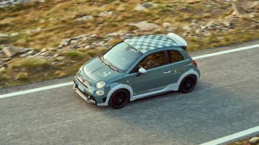 Abarth 695 70th Anniversario - front 3/4 static elevated viewpoint