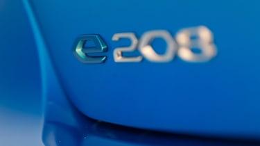 Peugeot e-208 hatchback rear badge