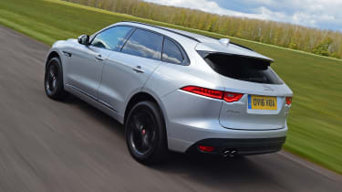 Meanwhile, the sloping roof and rear spoiler give the F-Pace a sporty look