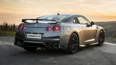 The standard GT-R comes with 20-inch 'Y-spoke' alloy wheels but the Nismo-associated models get lightweight black versions.