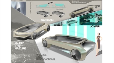 Zhiqin He – Zhiqin's proposal used a moveable, independent passenger cell to suit city or motorway use with a two-colour design to separate the elements.