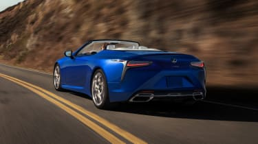 Lexus LC500 Convertible driving - rear