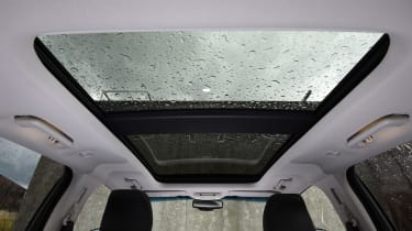Panoramic glass roof with power sunblind is an optional extra