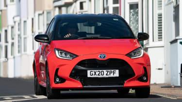 Toyota Yaris Hybrid front urban driving