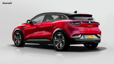 Renault Megane EV render - rear 3/4 view