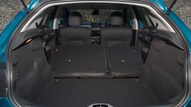 Rear seats split 60:40 and increase total boot space to 1,170, but there's a step in the floor, hampering practicality