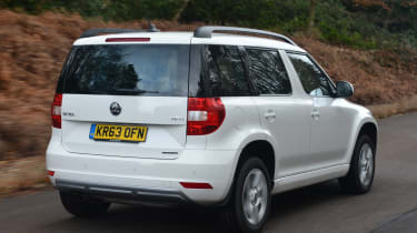The Yeti's boxy shape is most evident when viewed from the rear