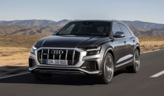 Audi SQ8 SUV front 3/4 tracking
