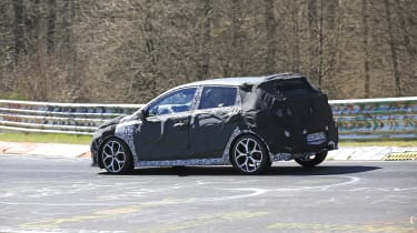 Hyundai i20 N development car - Nurburgring - rear view passing