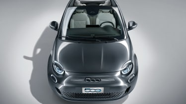 2020 Fiat 500 electric convertible - front on view