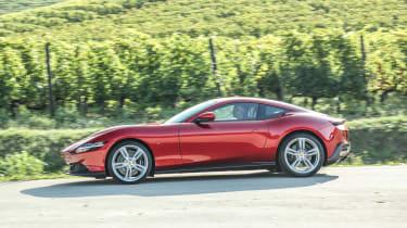 Ferrari Roma coupe side driving