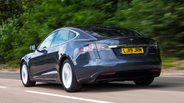 Tesla Model S saloon rear 3/4 tracking