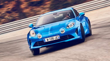Alpine A110 coupe front on track