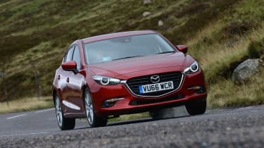 Its squat style gives the Mazda3 the sense that it's moving forward