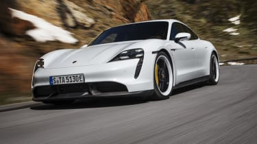 Porsche Taycan Turbo S - front 3/4 dynamic
