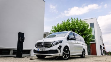 Mercedes EQV - front 3/4 static charging wide view