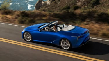 Lexus LC500 Convertible driving - top/side view