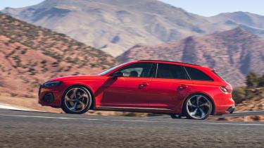 Audi RS4 Avant estate side cornering