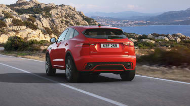 Jaguar E-Pace Chequered Flag driving away from camera