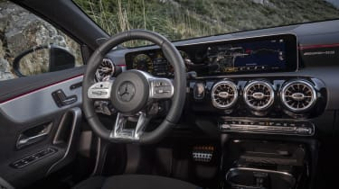 The interior of the A 35 is just as classy as in the standard A-Class, albeit with extra sporty touches