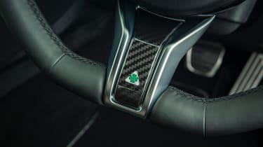 Alfa Romeo Giulia Quadrifoglio steering wheel detail