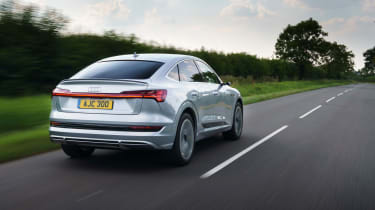 Audi e-tron Sportback SUV rear 3/4 tracking