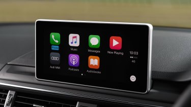 The MMI infotainment system is Apple CarPlay and Android Auto compatible, with sharp graphics