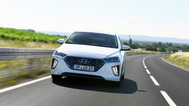 Hyundai Ioniq Plug-in Hybrid driving towards camera