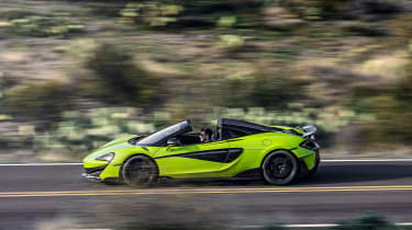 McLaren 600LT Spider convertible side tracking