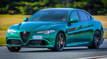 Alfa Romeo Giulia Quadrifoglio driving on racetrack