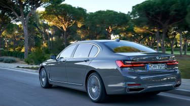 BMW 7 Series saloon rear 3/4 action