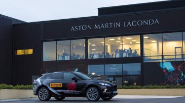 Aston Martin DBX prototype outside Aston Martin factory