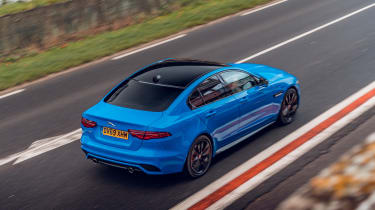 Jaguar XE Reims Edition driving on road