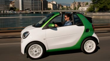 The Smart ForTwo ED Cabrio is a convertible two-seat electric city car