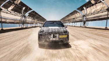 2021 BMW iNEXT electric SUV desert testing - frontal dynamic dust road test