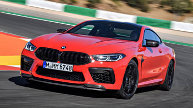 BMW M8 Competition coupe front 3/4 cornering