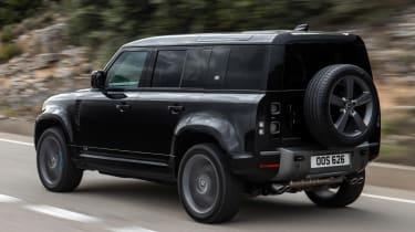 Land Rover Defender V8 SUV rear 3/4 tracking