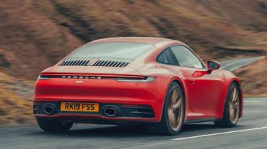 Porsche 911 coupe rear action