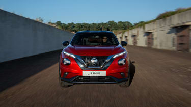 New Nissan Juke driving - front end view