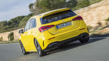 Unlike the car in these pictures, A 35 models fitted with the AMG Style Pack in the UK will also boast a rear spoiler