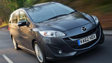 Mazda5 Venture 2013 front quarter on road news