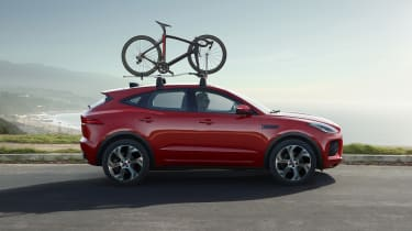 Jaguar E-Pace Chequered Flag with bike on roof