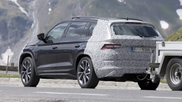 Skoda Kodiaq spy shot driving away from camera